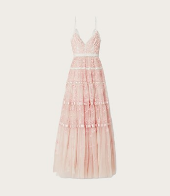 Picture of Satin-trimmed embroidered tulle gown