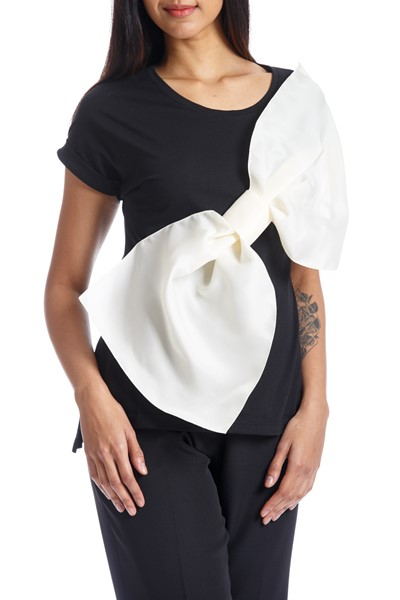 Picture of GAZAR BOW TEE BLACK & OFF WHITE, Picture 2