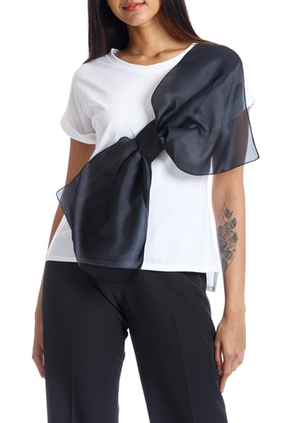 Picture of QUERENCIA BOW TEE WHITE & BLACK, Picture 1