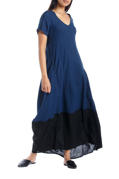 Picture of LONG DRESS BLUE & BLACK, Picture 1