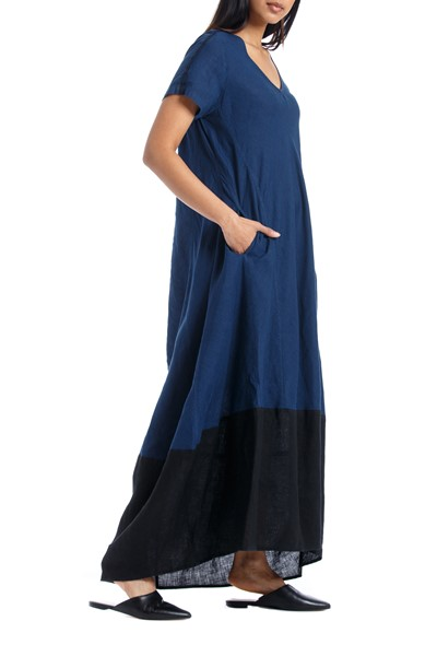 Picture of LONG DRESS BLUE & BLACK, Picture 2