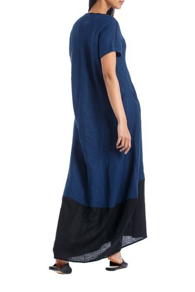 Picture of LONG DRESS BLUE & BLACK, Picture 4