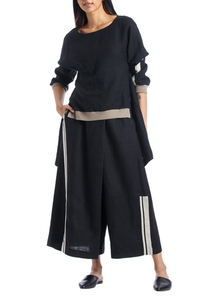 Picture of LINEN PANTS MATTECO BLACK, Picture 2