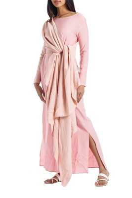 Picture of WRAP DRESS BEIGE & PINK