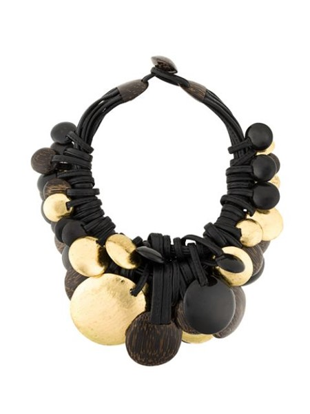Picture of LEATHER ,GOLD LEAF AFRICAN & EBONY WOOD NECKLACE, Picture 3