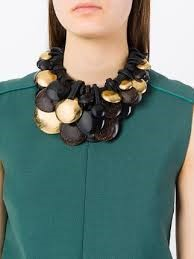 Picture of LEATHER ,GOLD LEAF AFRICAN & EBONY WOOD NECKLACE, Picture 5