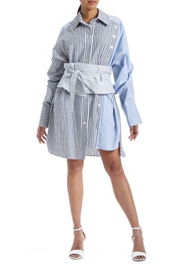 Picture of Oversized Corset Belted Poplin Shirt