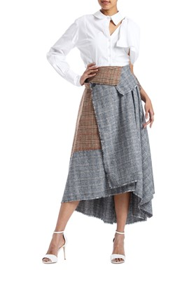 Picture of Asymmetric Checks Wool Wrap Skirt
