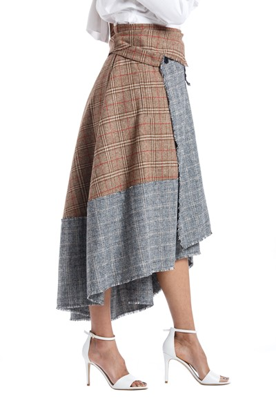 Picture of Asymmetric Checks Wool Wrap Skirt , Picture 2