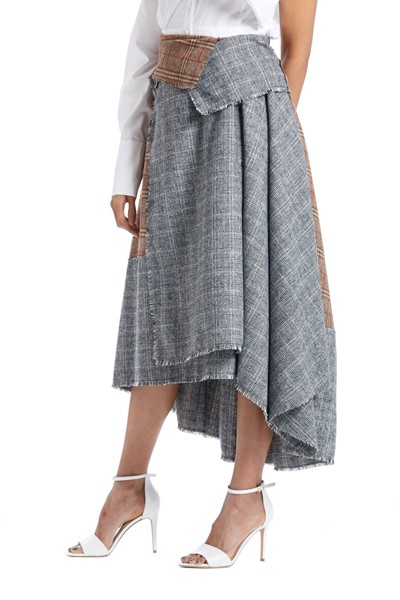 Picture of Asymmetric Checks Wool Wrap Skirt , Picture 3