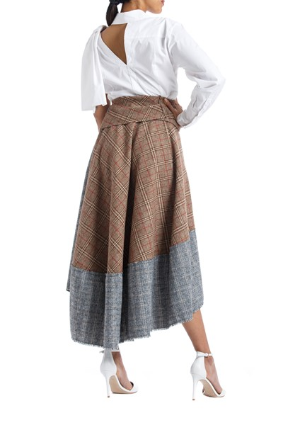 Picture of Asymmetric Checks Wool Wrap Skirt , Picture 4