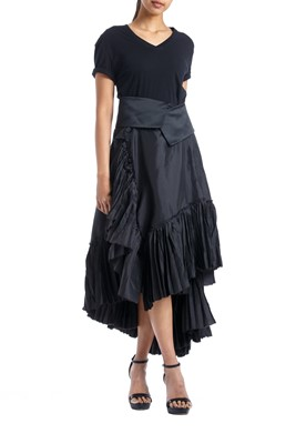Picture of Asymmetric Wrap pleated Skirt