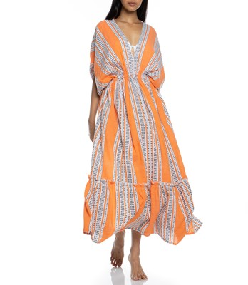 Picture of AMIRA ORANGE PLUNGE NECK DRESS