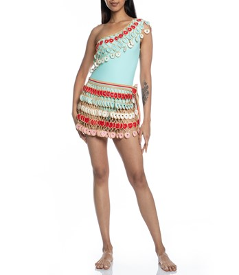 Picture of HEARTED HANF-KNITTED MINI SKIRT
