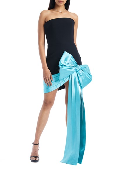 Picture of Bow Embellished Strapless Crepe & Silk Corset Mini Dress, Picture 1