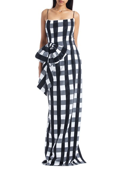 Picture of Bow Embellished Checked Satin Midi Dress, Picture 1