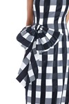 Picture of Bow Embellished Checked Satin Midi Dress