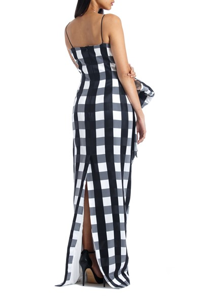 Picture of Bow Embellished Checked Satin Midi Dress, Picture 4