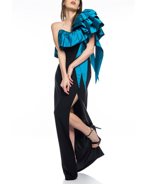 Picture of Long Dress black & dark turqouise, Picture 2
