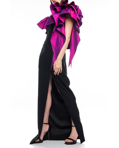 Picture of Long Dress Black & Magenta, Picture 3