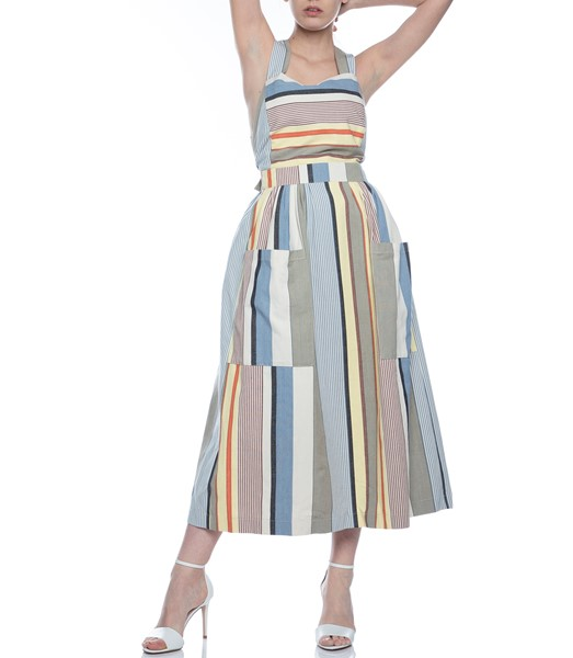Picture of APRON DRESS GREY STRIPE, Picture 3