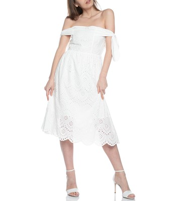 Picture of OFF THE SHOULDER DRESS WITH SMOCKED BACK