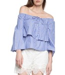 Picture of STRIPPED BLUE OFF SHOULDER TOP