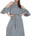 Picture of GINGHAM DRAPE SLEEVE TOP