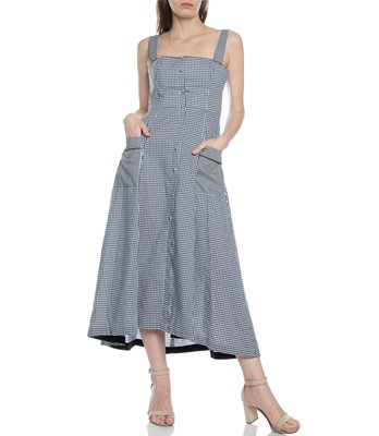 Picture of GINGHAM SQUARE NK MIDI DRESS
