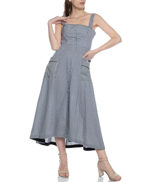 Picture of GINGHAM SQUARE NK MIDI DRESS, Picture 2