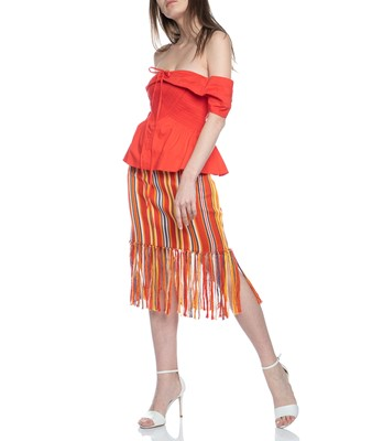 Picture of BEACH STRIPE FRINGE PENCIL SKIRT