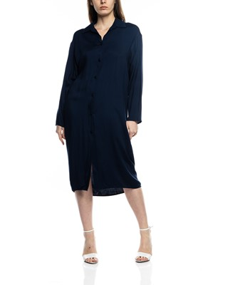 Picture of MIDI NAVY SHIRT DRESS WITH BELT POCKETS