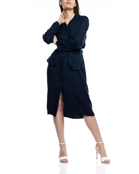 Picture of MIDI NAVY SHIRT DRESS WITH BELT POCKETS, Picture 2