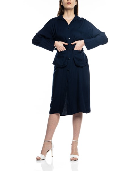 Picture of MIDI NAVY SHIRT DRESS WITH BELT POCKETS, Picture 3