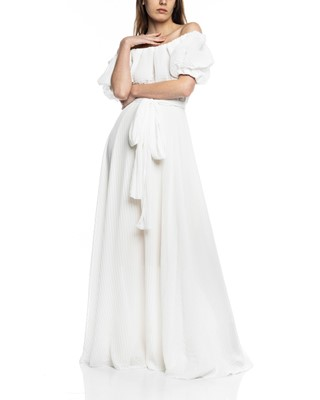Picture of ACCORDION LONG DRESS WHITE