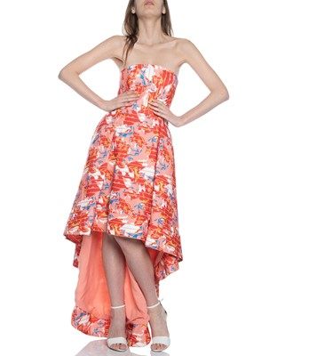 Picture of ENTICE STRAPLESS GOWN SHERBET STRIPED FLORAL