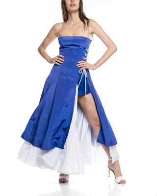 Picture of STRAPLESS SIDE LACING MAXI  DRESS