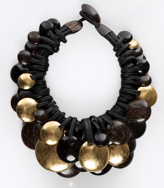 Picture of LEATHER ,GOLD LEAF AFRICAN & EBONY WOOD NECKLACE, Picture 1