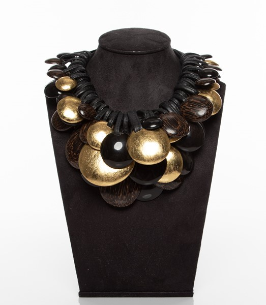 Picture of LEATHER ,GOLD LEAF AFRICAN & EBONY WOOD NECKLACE, Picture 2