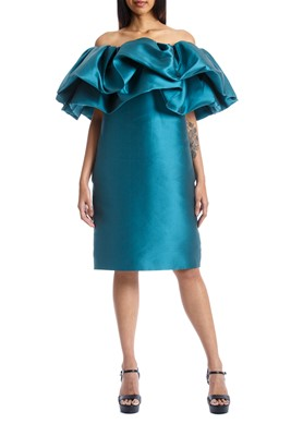 Picture of GREEN ELIT MIKADO DRESS