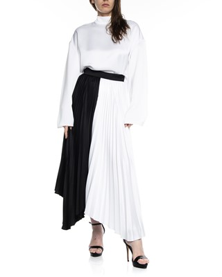 Picture of ASYMMETRIC BI COLLAR PLEATED SKIRT