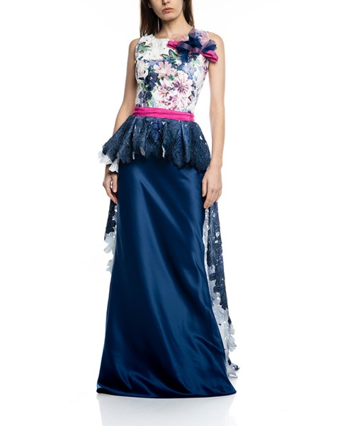 Picture of LONG DRESS BLUE & FUSHIA, Picture 1