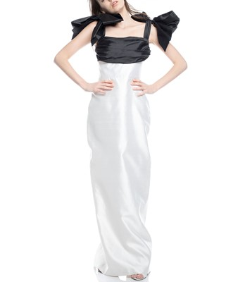 Picture of BOW EMBELLISHED SILK MAXI DRESS