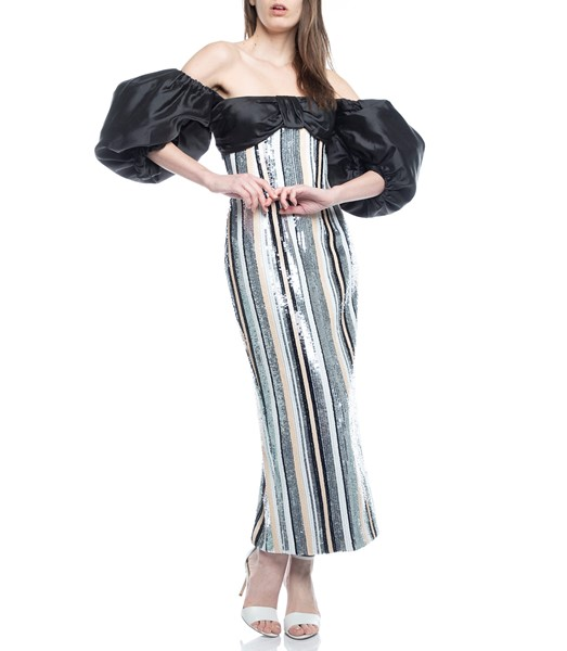 Picture of MIDI DRESS PUFF SLEEVE STRIPED SEQUIN & SILK CORSET, Picture 1