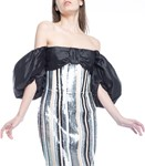 Picture of MIDI DRESS PUFF SLEEVE STRIPED SEQUIN & SILK CORSET