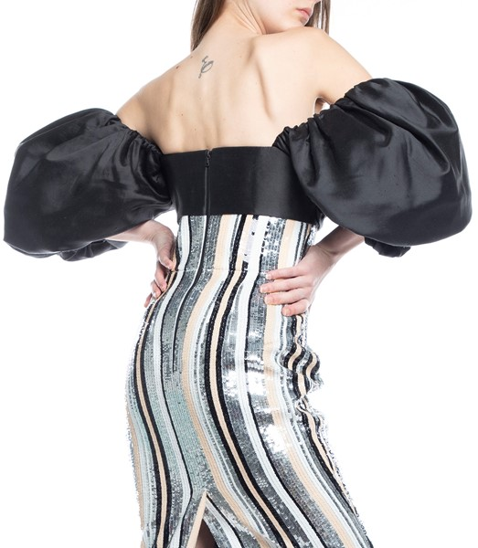 Picture of MIDI DRESS PUFF SLEEVE STRIPED SEQUIN & SILK CORSET, Picture 5