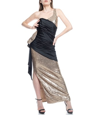 Picture of MAXI DRESS ABITO GOLD & NOIR