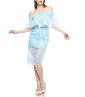 Picture of SINGLE RUFFLE OFF SHOULDER LACE DRESS
