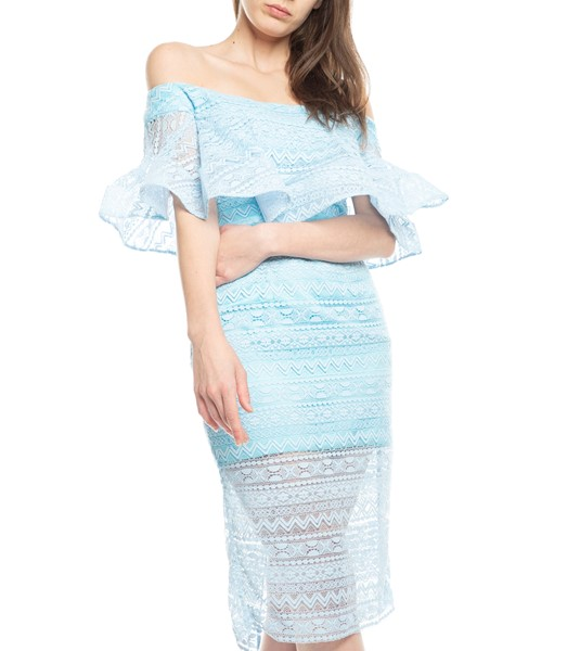 Picture of SINGLE RUFFLE OFF SHOULDER LACE DRESS, Picture 3