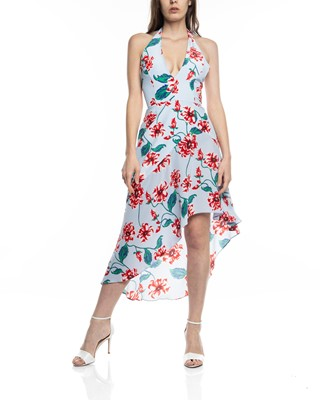 Picture of PRINT FLORAL HALTER DRESS